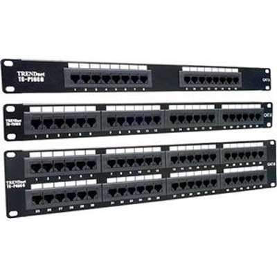 Patch Panel Gigabit Ethernet Fast Network 16 Port Cat6 Cabling Wall Rack Mount
