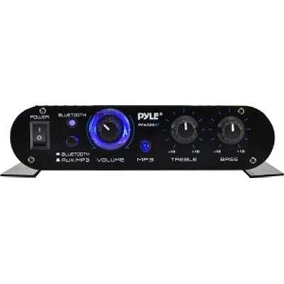Pyle Bluetooth Mini Blue Compact Amplifier Push-Type Speaker Terminals  90 WATT