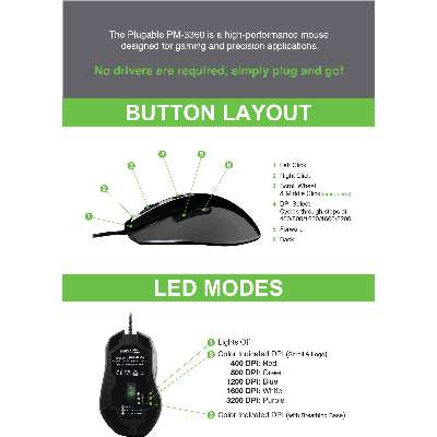 1106fb07a3d The Plugable PM3360 is engineered for pixel-perfect accuracy with your mouse  cursor in creative applications, or when quickly centering your crosshairs  on a ...